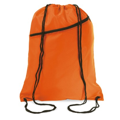 Large drawstring bag with zip pocket