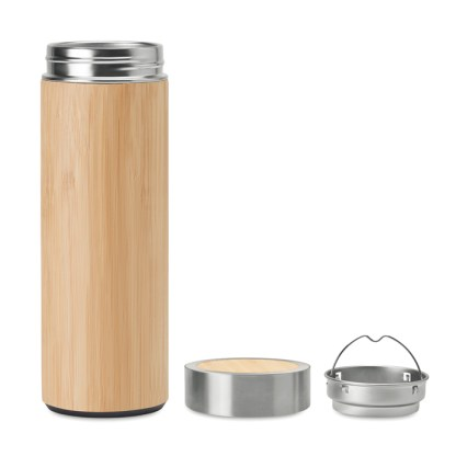 Double wall stainless steel bamboo bottle
