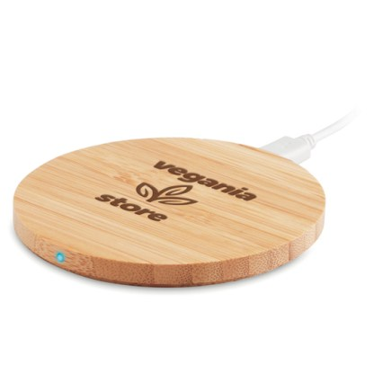 Round wireless charger bamboo