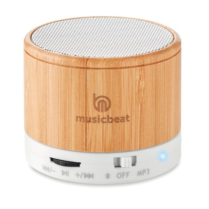 Round bamboo wireless speaker