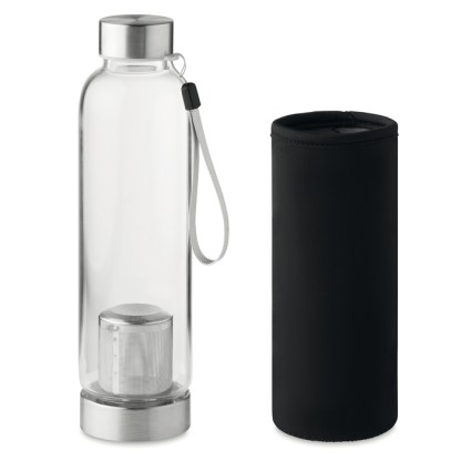 Single wall glass bottle with tea infuser