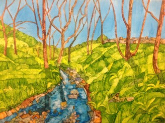 The Gentle Valley. Inks on Moulin du Roy Torchon. 56 x 38 cm POA