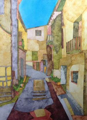 A Street in Orta. 28 x 38 cm Inks on Bockingford HP paper. SOLD