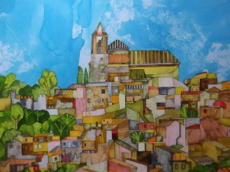 Andalucian Jigsaw. .Inks and Dyes. 38 x 28 cm. SOLD