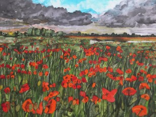 Poppies. Inks and Dyes. 50 x 40 cm. SOLD
