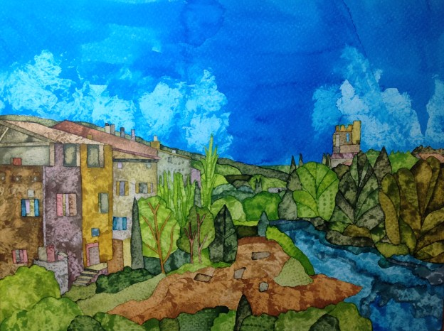 Lagrasse Abbey. Inks and dyes. 38 x 28 cm on Moulin du Roy 300 gsm Torchon. POA
