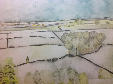Snow Fields. Inks and dyes. 38 x 28 cm on Moulin du Roy 300 gsm Torchon. AVAILABLE FROM HOPE ART GALLERY
