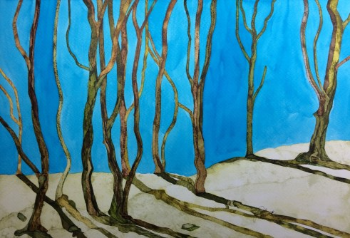 Old Trees Young Snows 56 x 38 cm Inks on Moulin du Roy Torchon. POA