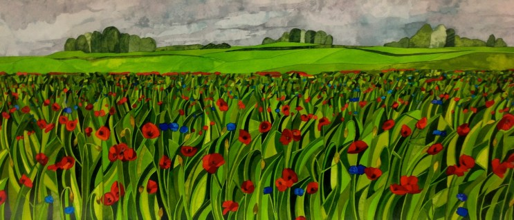 A Sea Of Poppies. Inks on Bockingford CP NOT. 100 x 45 cm. COMMISSION