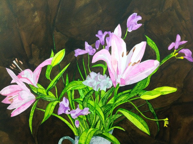 Lillies and Fresias. 38 x 28 cm Inks on Bockingford CP NOT. 300 gsm. POA