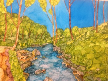 Hawes River Valley. Inks on Moulin du Roy Torchon. 56 x 38 cm POA