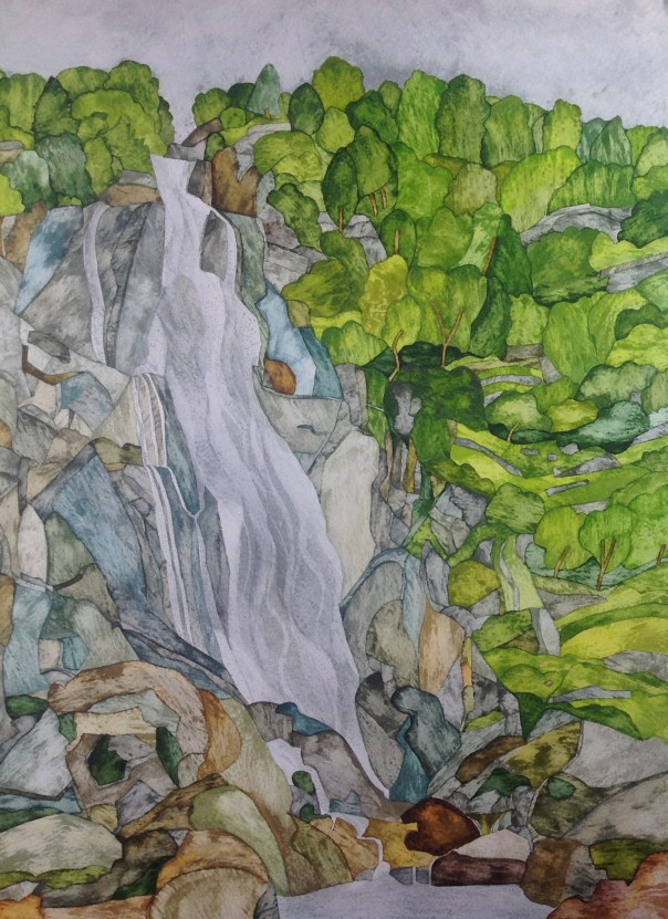 Aber Falls IV 38 x 56 cm Inks on Moulin du Roy 300 gsm Torchon. SOLD