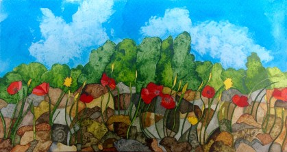 Spanish Poppies 28 x 19 cm Inks on Moulin du Roy 300 gsm Torchon. POA