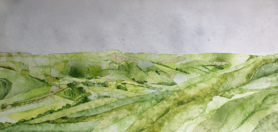 Looking to Mam Tor. 115 x 50 cm Inks on Moulin du Roy Torchon paper. POA