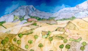 Olives and Mountains. 65 x 38 cm Inks on Moulin du Roy Torchon paper. POA