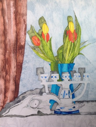Still Life with Tulips. Inks on Moulin du Roy Torchon. 28 x 38 cm. POA