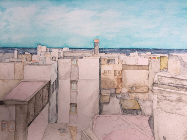 Essaouira Rooftops to the Sea 38 x 28 cm Inks on Moulin du Roy Torchon paper. POA