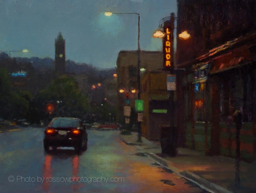 Wet Drive on Lake Avenue 9x12-Carl Bretzke