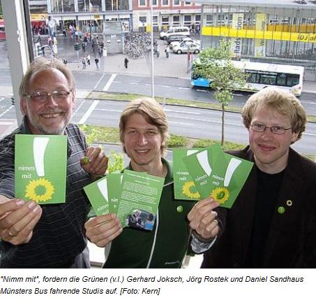 """09.07.2009, Stadtmagazin Echo: """"Ökologisch und Sozial"""", jetzt auch im ÖPNV: Münsters Grüne rufen zum Mitfahren auf"""