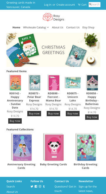 Shop Rosy Designs Wholesale Greeting Cards!