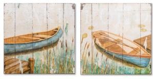 Картина в прямокутній рамі | Човен на озері