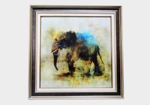 Картина в квадратной раме   Черный слон