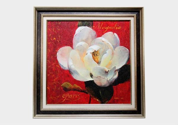 Картина в квадратной раме | Белый цветок на красном