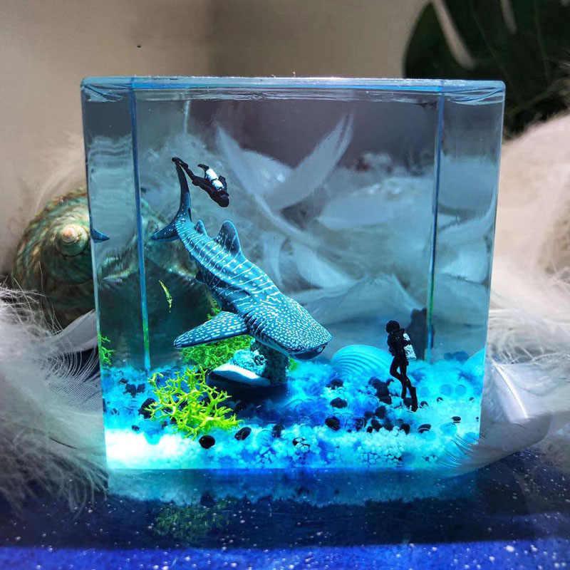 Resin Epoxy Crafts-Creative Gifts-Marine Whale Night Light-Desktop