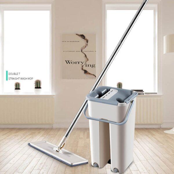 Magic Hand Washing Flat Mop with Bucket Lazy 360 Rotating