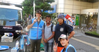 DRR Udhaya Kumar participating in a road safety awareness campaign in Japan.