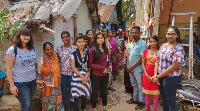 Rotaractors with the residents of Saraswati Chuggi.