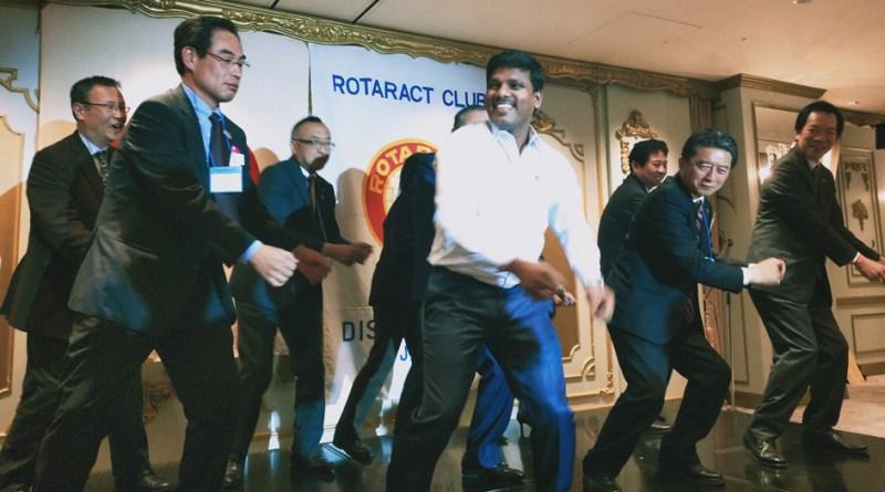 DRR Udhayakumar Srinivasan  dancing with Japanese Rotarians.