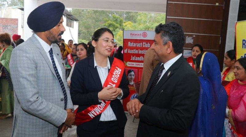 RAC Austin Institutes President Deepika Sharma with IPDG Barjesh Singhal (right) and Rtn Ajit Paul Singh Naphrey.