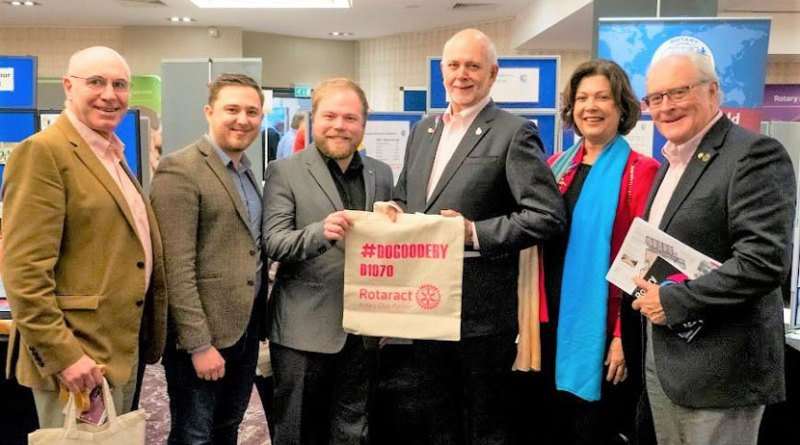 RI President Barry Rassin, Esther and  DRR Chris Wells, at a Rotaract Conference in the UK last year, with RIBI Rotaract Liaison Jim Davies (L) and RID Brian Stoyel (R).