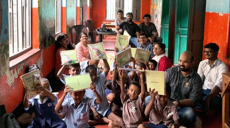 Children at the Kashishwari Primary School with educational kits.