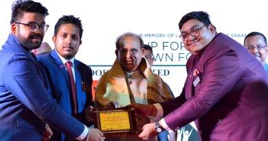 From R: Project Chairman Shivam Saraf, DRRE Tushar Jalan and RAC Guwahati Luit President Rishabh Surana honour Assam Governor Jagdish Mukhi.