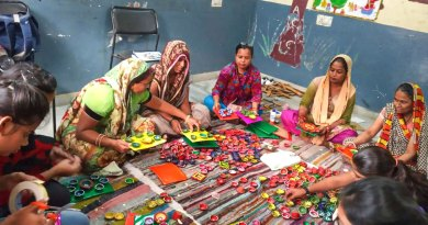 Colourful diyas handcrafted by women.