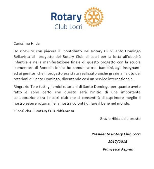 Carta a Hilda García del club de locri italia
