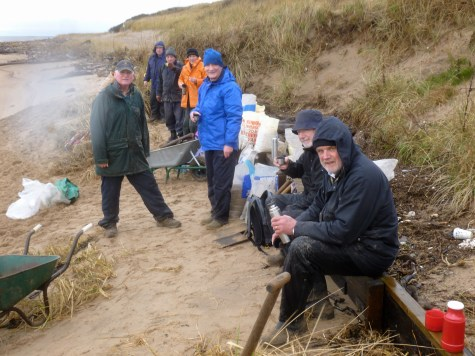 A merry band of volunteers braving the elements on a dreich January morning