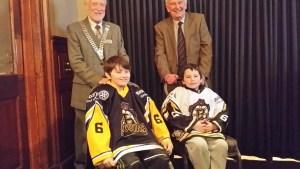 Mitchell & Clark with President Douglas & John Ewing