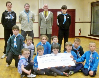 Treasure Chest cheque presentation to 43rd Ayrshire Scouts, Kincaidston by President Douglas
