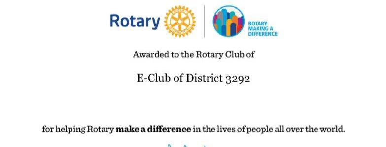 Rotary Citation 2017-18 from the RI President Ian H.S. Riseley
