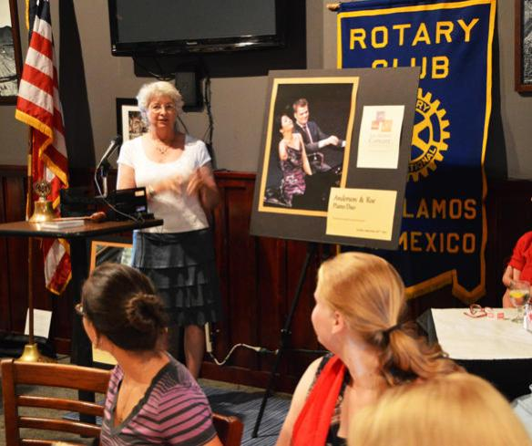 LACA Artistic Director Ann McLaughlin discusses the upcoming concert season during a talk at Tuesday's Rotary Club meeting in the Manhattan Project Restaurant.