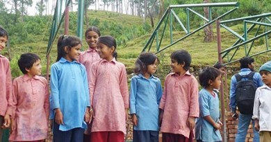 Children at the Rotary school under construction in Siddhanagar.