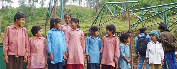 Children at the Rotary school under construction in Siddhanagar.