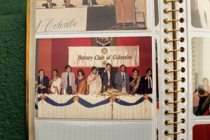 After a successful year as 1987–88 president of the Colombo club, Ravindran hands over the title to his successor and friend Ruzly Hussain (centre). Ravindran's wife, Vanathy, is second from left; third from left is the current Prime Minister of Sri Lanka, Ranil Wickremesinghe.