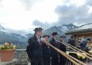 An Alpine music festival near the Matterhorn Peak.