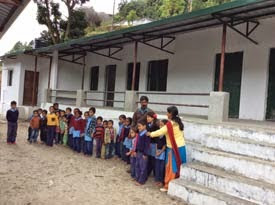 Queuing up at their new school in Kyunja.
