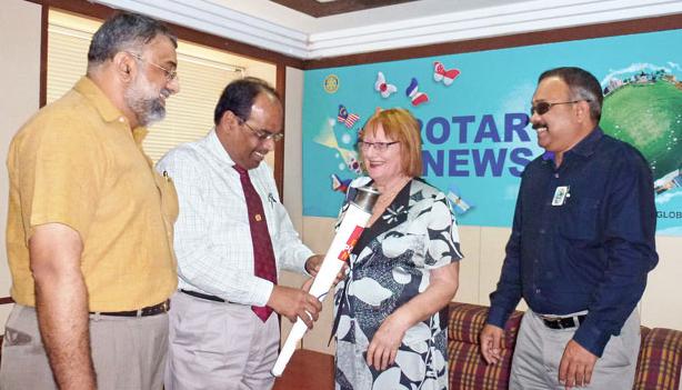 Rtn M K Gopinath, IPDG ISAK Nazar, Rtn Susanne Rea and PDG S P Balasubramaniam at the Rotary News Trust office in Chennai.