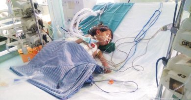 Afghan baby Aisha battles for her life.